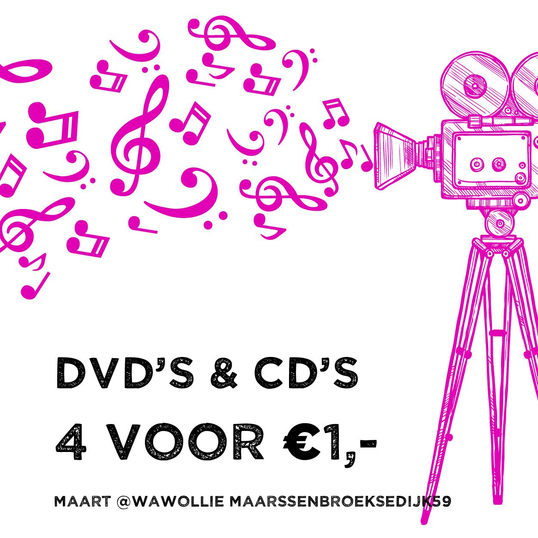 Maandactie: alle cd's en dvd's 4 voor 1 euro